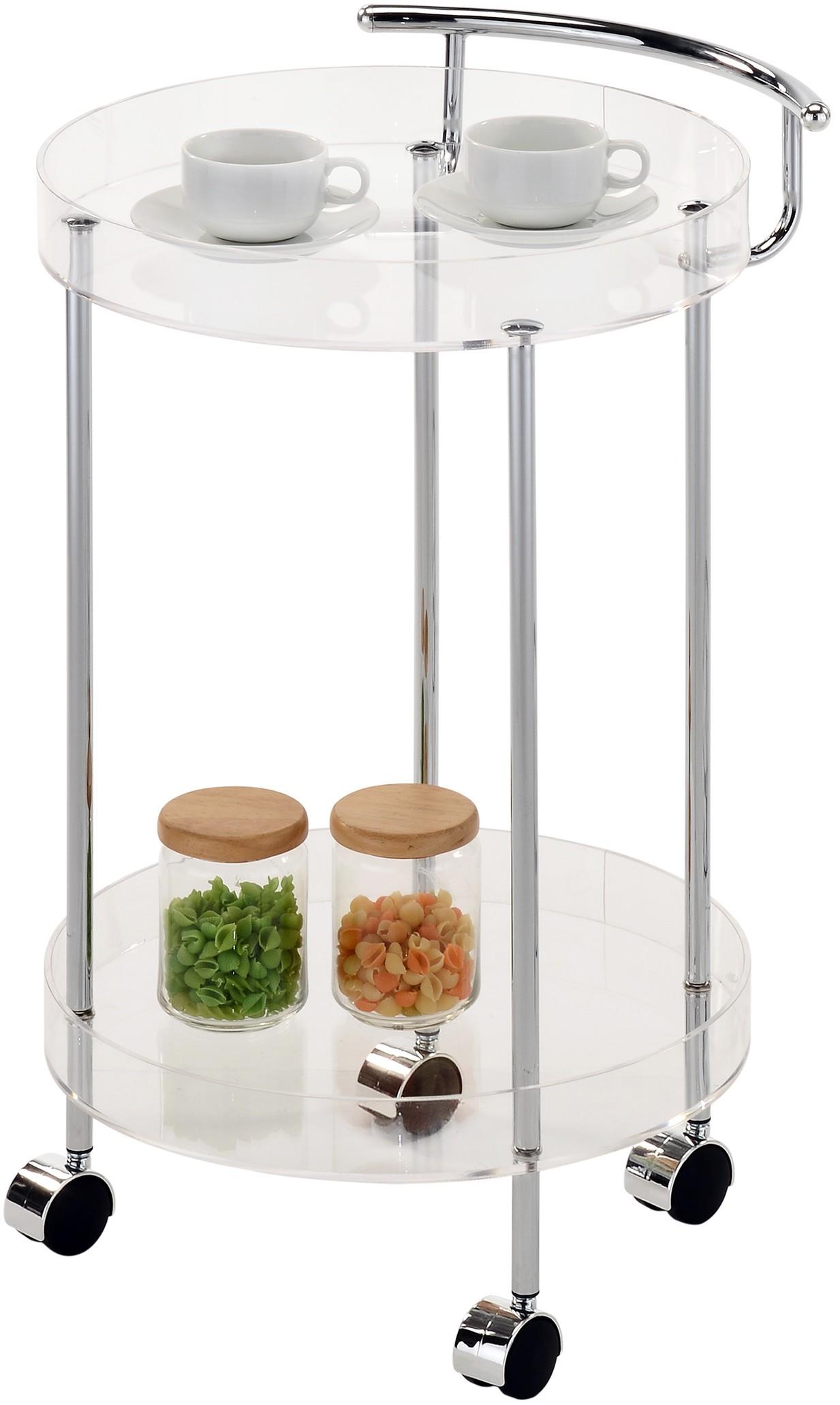 desserte ronde deux plateaux plexiglass a roulette