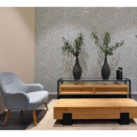 meuble tv bois clair pieds metal noir 2 tiroirs
