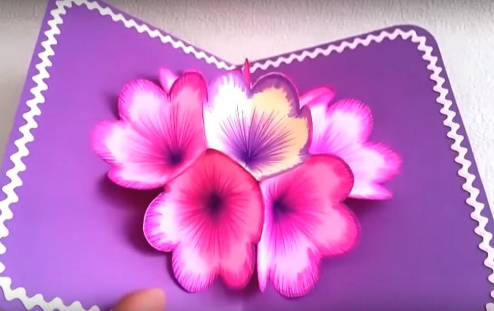 3д открытка маме цветок, любимой