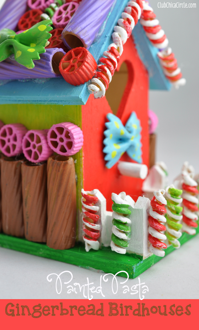 Painted Pasta Gingerbread Birdhouse Holiday Craft Idea Club