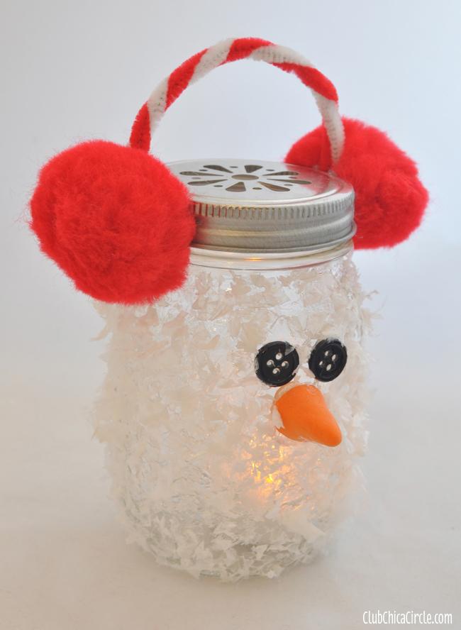 Snowman Mason Jar Luminary Holiday Ornament Craft