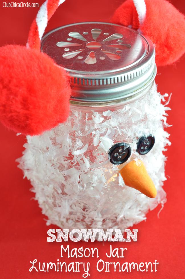 Snowman Mason Jar Luminary Ornament Craft idea