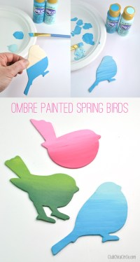Pretty Ombre Painted Spring Birds Wall Art DIY