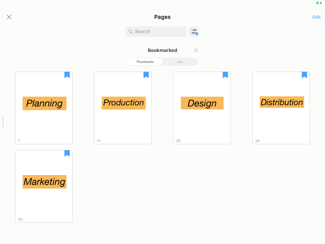 Naming your bookmarks in Noteshelf thumbnail view