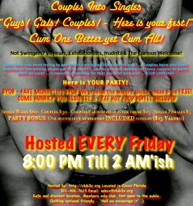 Couples Into Singles & Fetish Fun – Hot Dinner & Hot Fun! Big Party! @ Club3X | Cocoa | Florida | United States