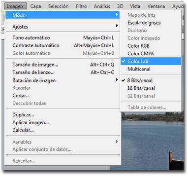 >Imagen >Modo >Color Lab