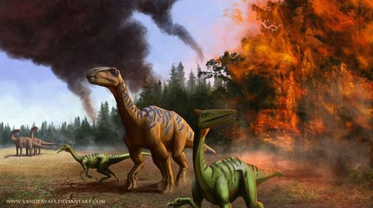 04. Dinosaurs running from fire