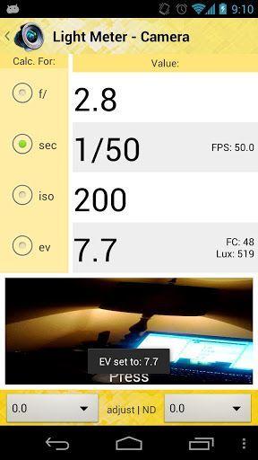 Light Meter Tools aplicación para hacer fotod