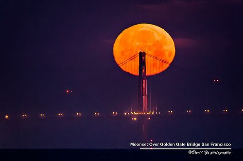 Super Moonset Over Golden Gate Bridge San Francisco May 5 2012, por David Yu