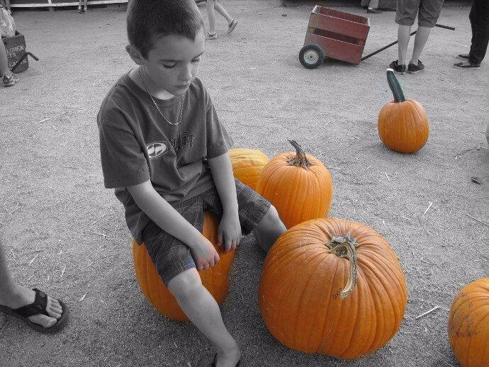 niño calabazas halloween