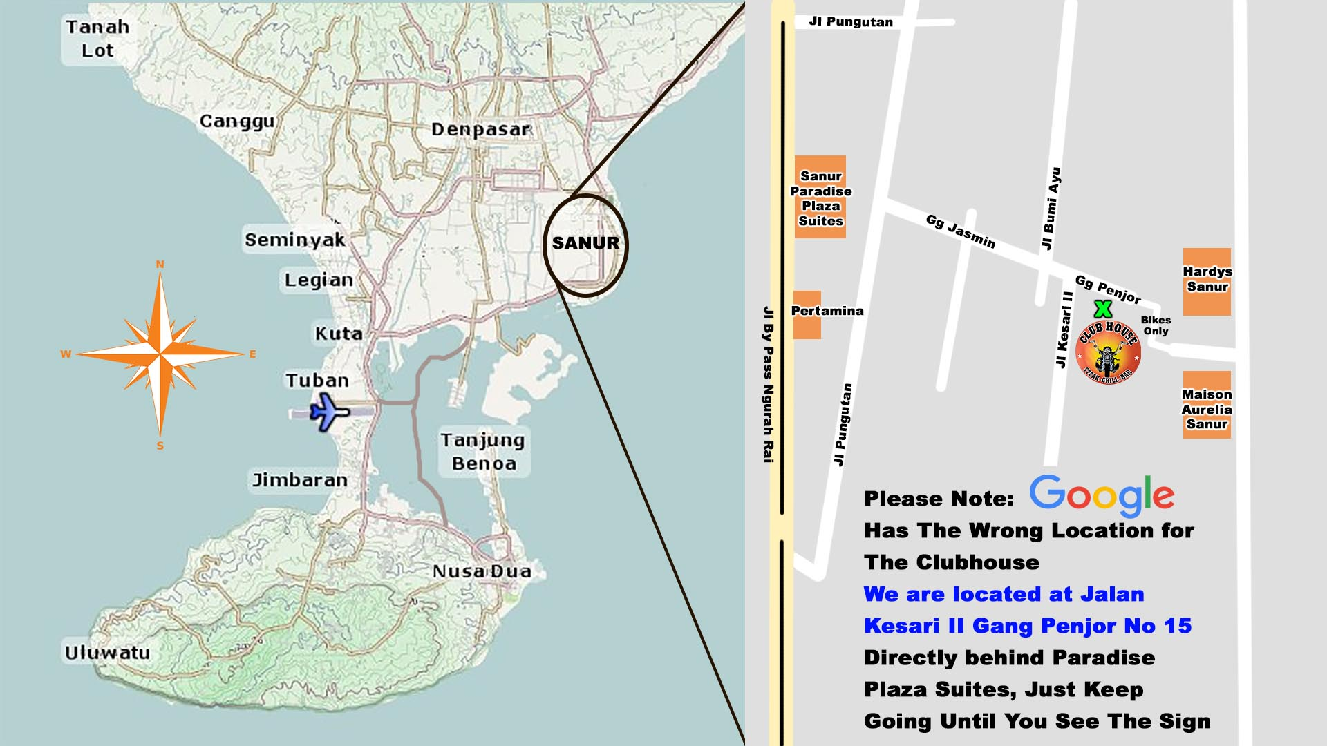 Clubhouse Sanur Bali Location Map Find Us