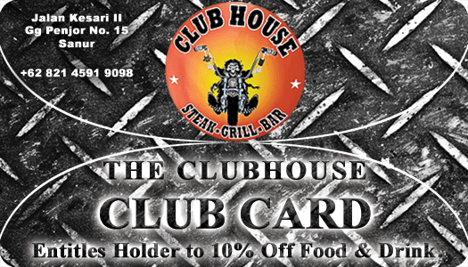 Clubhouse Club Card from The Best Steak Restaurant in Bali
