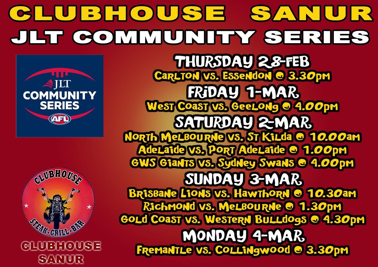 AFL JLT COMMUNITY SERIES LIVE @ CLUBHOUSE SANUR BALI