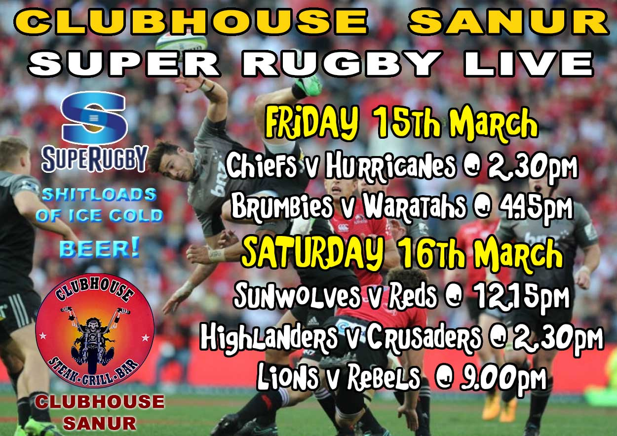 Clubhouse Steak Grill Bar Sanur Sports Super Rugby