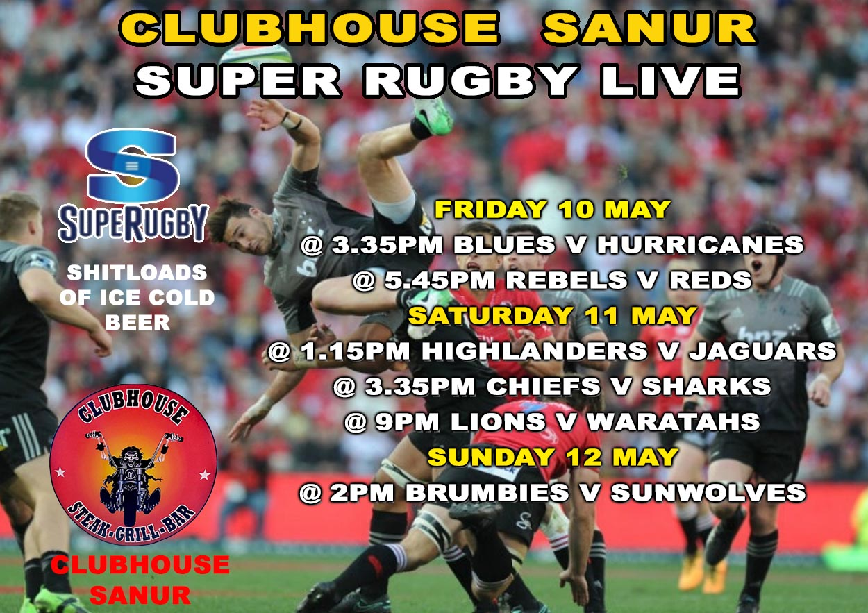 Super Rugby Live | Clubhouse - Steak, Grill & Bar in Sanur