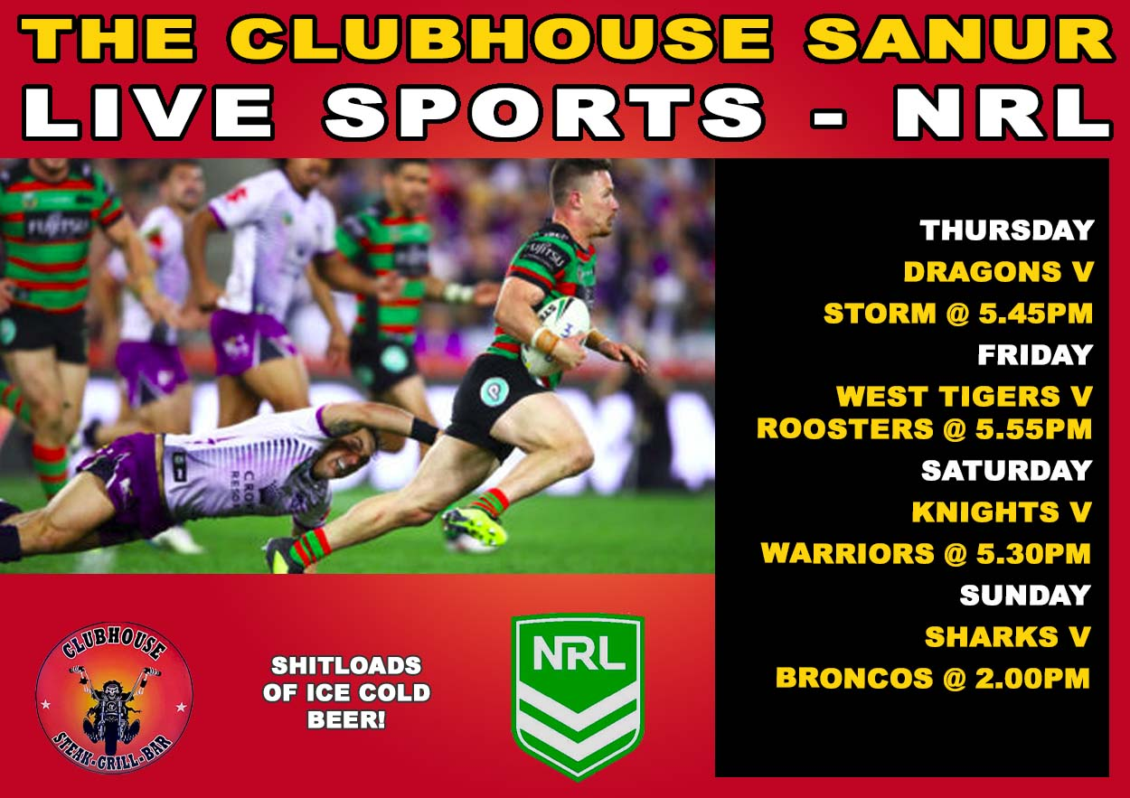 NRL Rubgy Live at the Clubhouse In Sanur