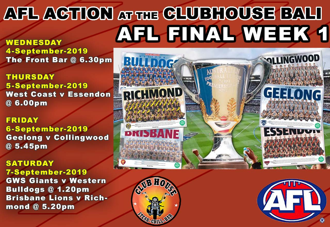 AFl Live Clubhouse Steak Grill Bar Sanur Bali AFL FINAL WEEK 1