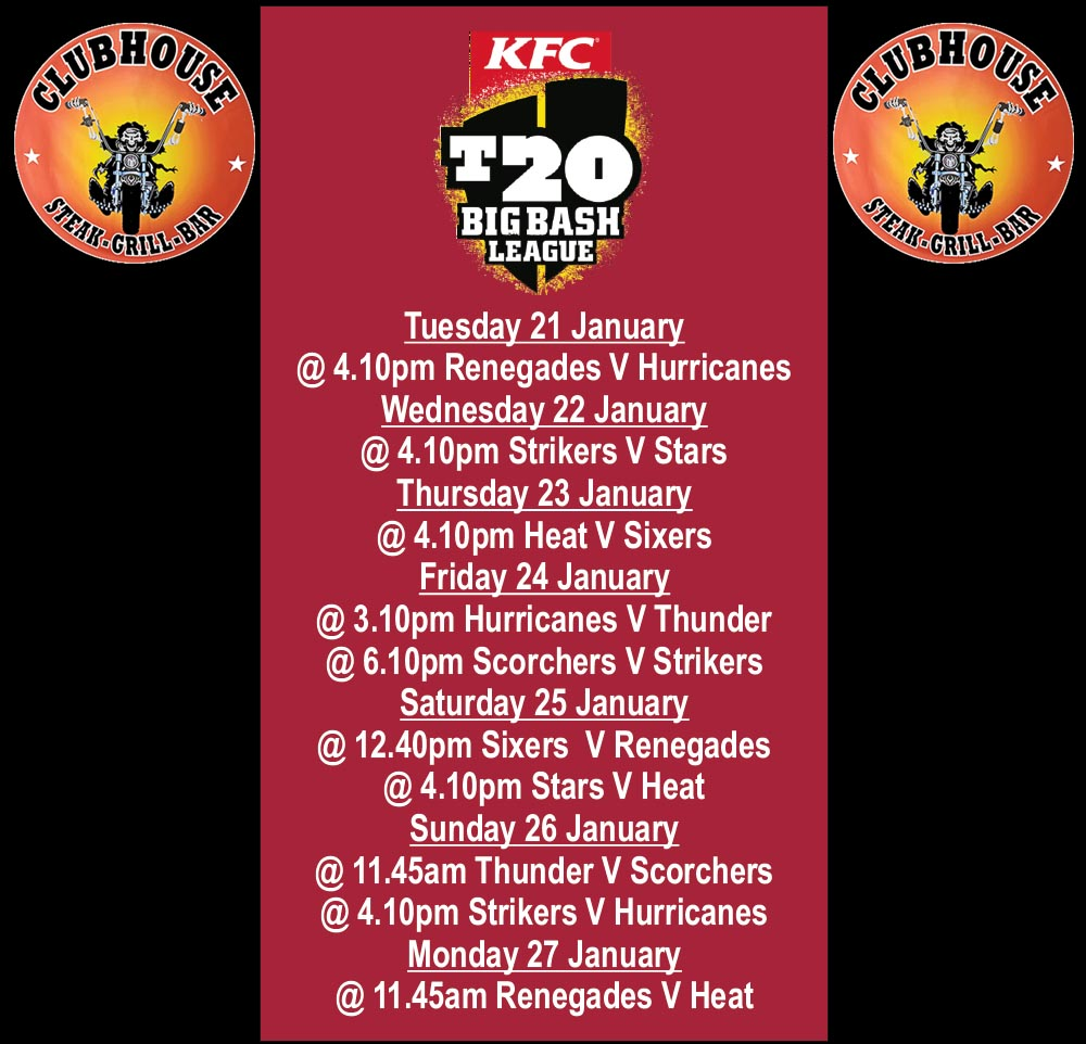 Clubhouse Sanur KFC T20 Big Bash League January 2020