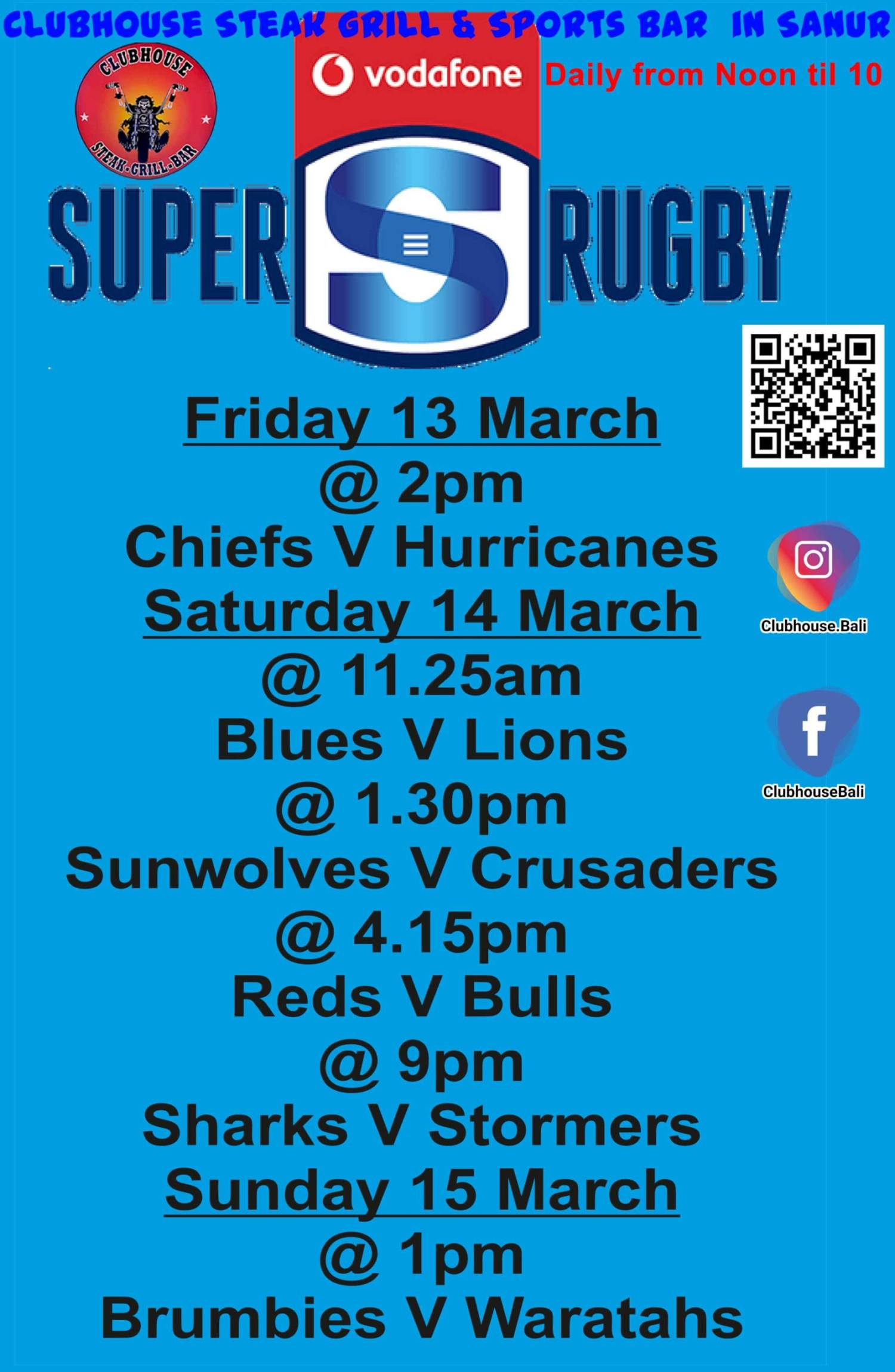 Clubhouse Steak Grill & Sports Bar Presents Super Rugby