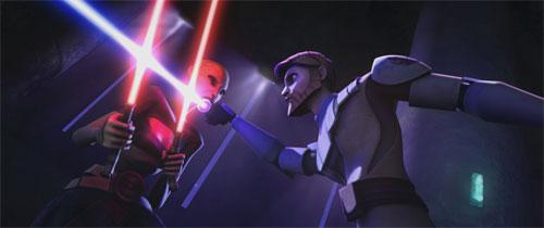 Ventress battles Obi-Wan