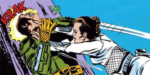 Leia kicks Mando behind