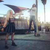 Ashley Eckstein gives Alex Albrecht a taste of Vadering