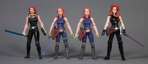 Mara Jade figures from 1998, 2007 and 2013 (Yakface.com)