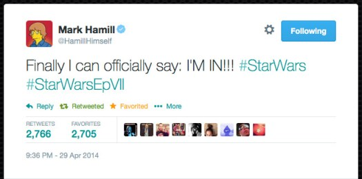 @HamillHimself  Finally I can officially say: I'M IN!!! #StarWars #StarWarsEpVII