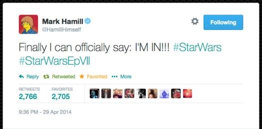 @HamillHimself  Finally I can officially say: I'M IN!!! #StarWars #StarWarsEpVII