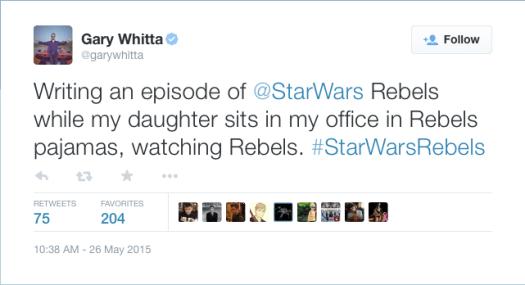 @garywhitta: Writing an episode of @StarWars Rebels while my daughter sits in my office in Rebels pajamas, watching Rebels. #StarWarsRebels