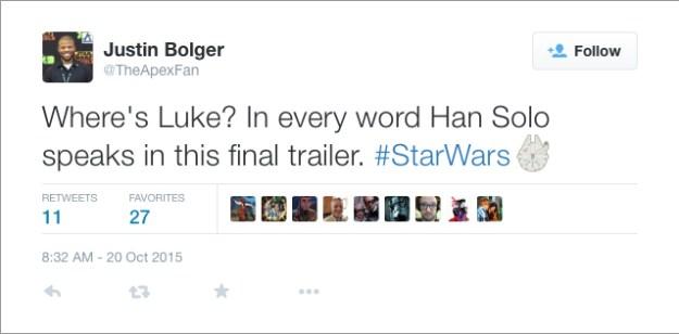 @TheApexFan: Where's Luke? In every word Han Solo speaks in this final trailer. #StarWars