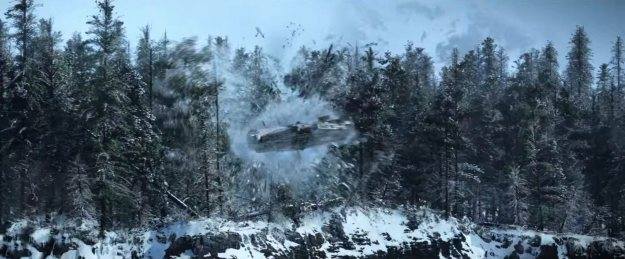 The Falcon crashing through trees on the snow planet.