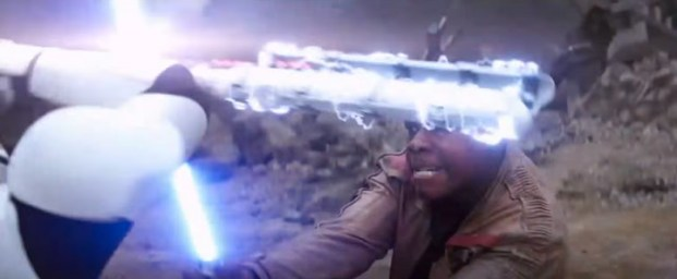 A stormtrooper blocks Finn's lightsaber with a kind of baton. The Electrostaff evolved?