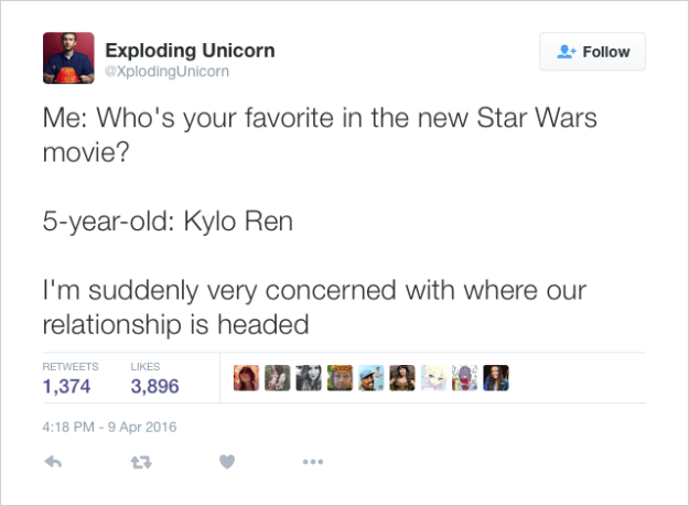 @XplodingUnicorn: Me: Who's your favorite in the new Star Wars movie?  5-year-old: Kylo Ren  I'm suddenly very concerned with where our relationship is headed
