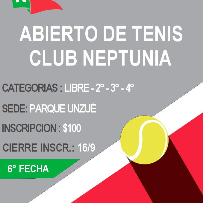 Tenis: Inscripción Abierta para la 6ta. Fecha del Abierto del Club Neptunia
