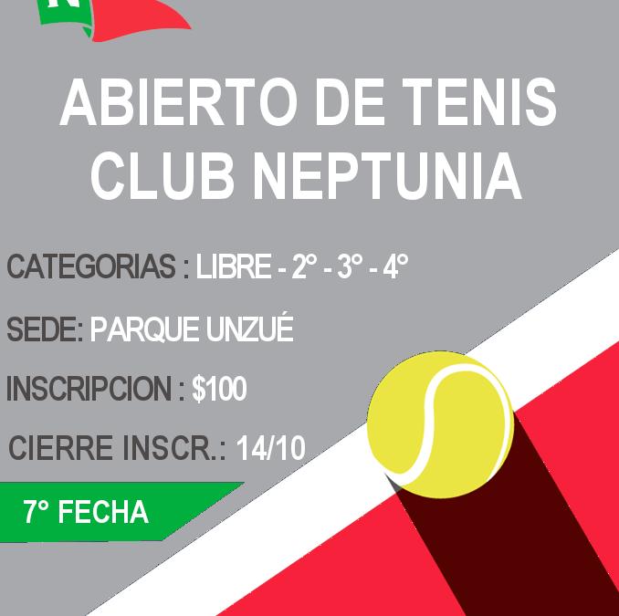 Tenis: Inscripción Abierta para la 7ma. Fecha del Abierto del Club Neptunia