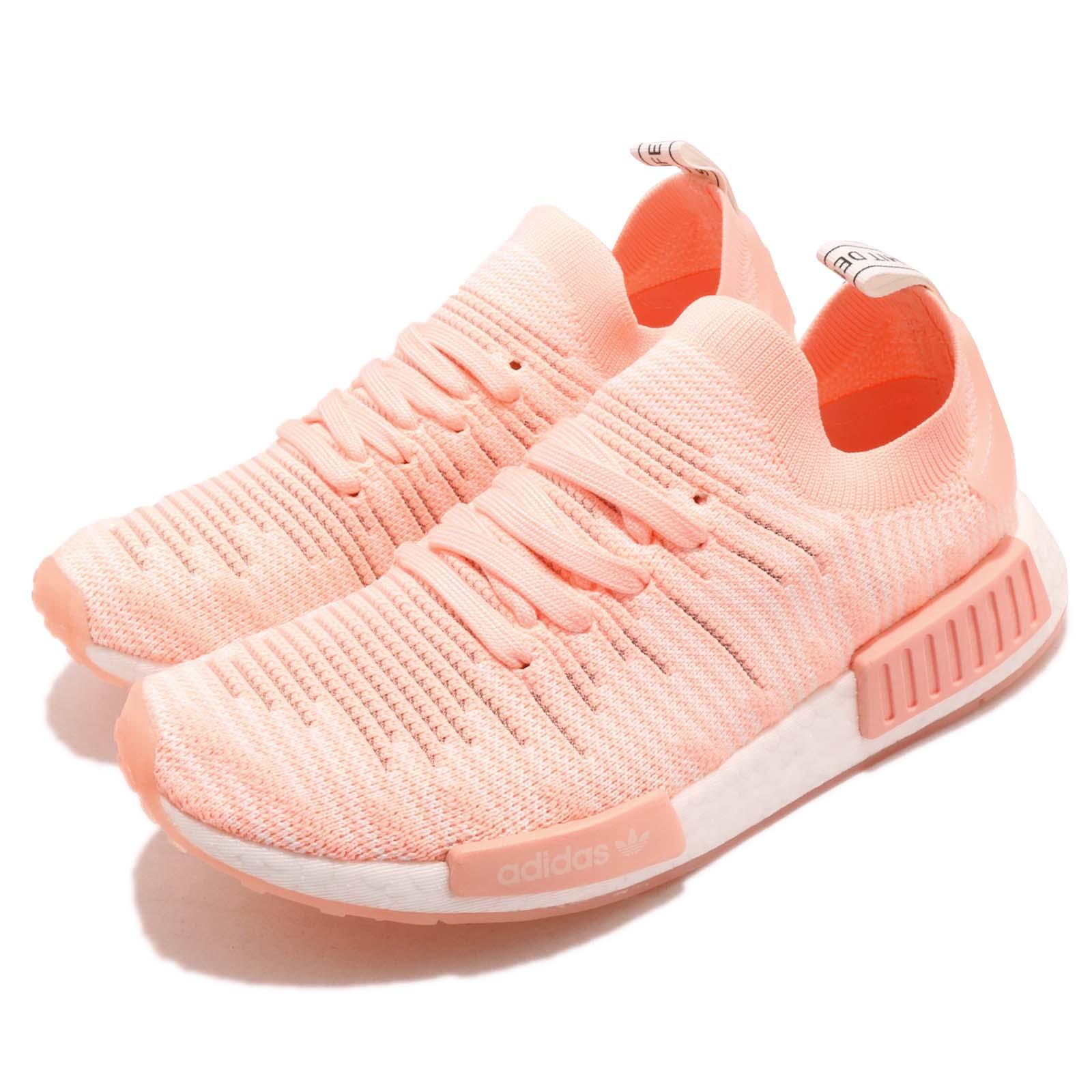 adidas 休閒鞋 NMD R1 STLT PK 女鞋 愛迪達 三葉草 襪套式 球鞋穿搭 粉橘 白 AQ1119 AQ1119-friDay購物