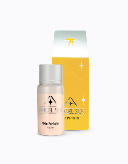 An image that displays the Angel silk skin perfector bottle and packaging