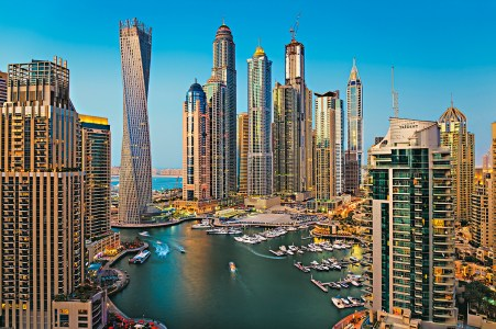General view of Dubai Marina at Dusk from the top