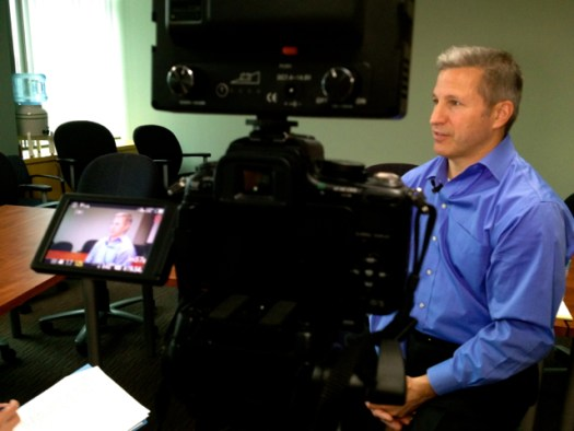 Recording an interview with Russ Riendeau for the Vistage Village video.
