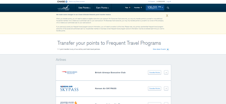 Chase Transfer points