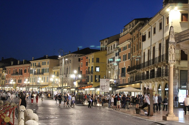 family trip to europe - verona piazza bra at night