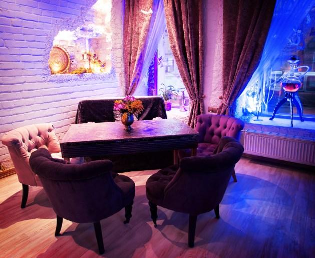 Retro vintage luxury interior. Restaurant, night club