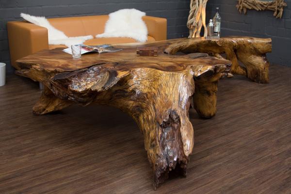 Couchtisch Wurzel Holz Suar 280x180cm Wohnzimmertisch Baumscheibe Natur Tropen  eBay