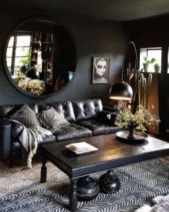 Adorable Black Living Room Ideas That Looks Cool14