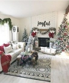 Awesome Winter Home Decoration Design Ideas With Unique Fireplace06