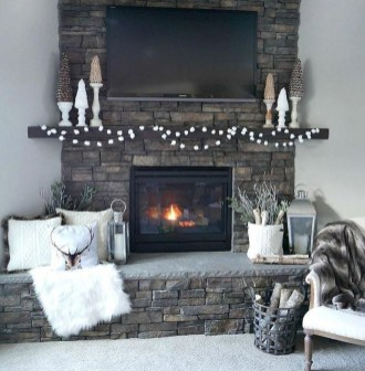 Awesome Winter Home Decoration Design Ideas With Unique Fireplace26