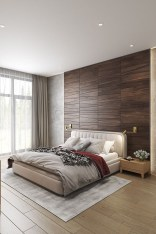 Newest Bedroom Design Ideas That Featuring With Wooden Panel Wall20