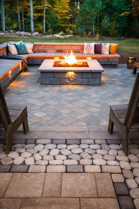 Best Patio Deck Design Ideas With Firepit To Make The Atmosphere Warmer23