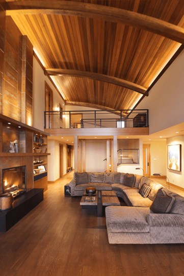 Brilliant Living Room Wood Ceiling Design Ideas That You Should Try07